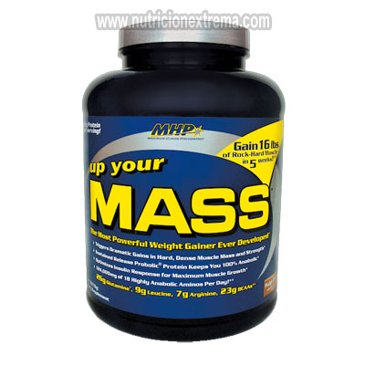 Up Your Mass 5 lbs - grandes ganancias en tamaño muscular y fuerza. MHP - Fórmula de Up Your MASS provee la precisa proporción 45/35/20 de macro nutrientes (carbohidratos, proteína, grasa)